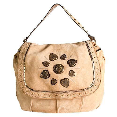 Gucci Studded Irina Large Suede Shoulder Handbag