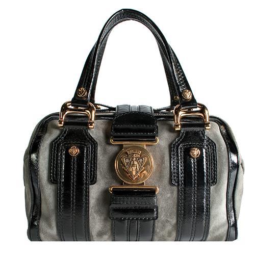 Gucci Suede Aviatrix Medium Boston Satchel Handbag