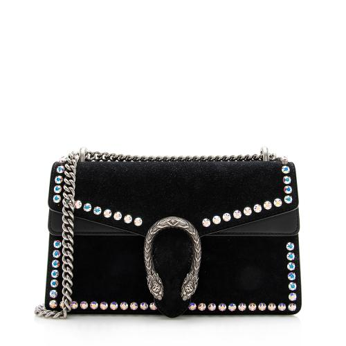 Gucci Suede Crystal Dionysus Small Shoulder Bag