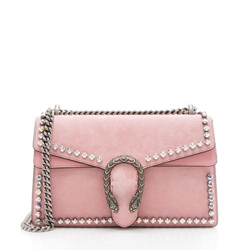 Gucci Suede Crystal Small Dionysus Shoulder Bag