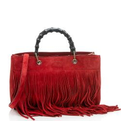 Gucci Suede Fringe Bamboo Medium Shopping Tote