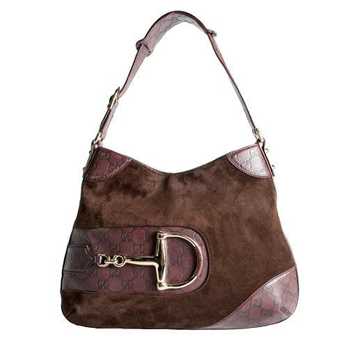 Gucci Suede Horsebit Medium Shoulder Handbag