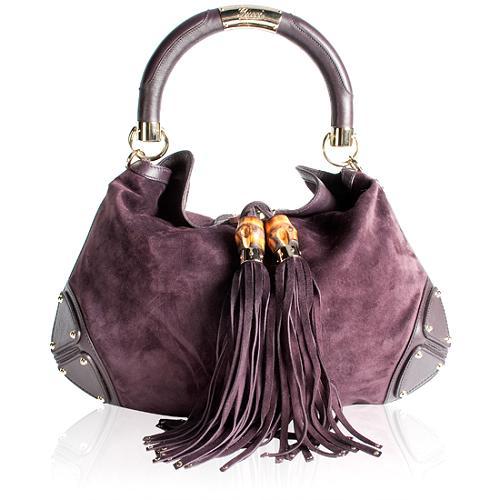 Gucci Suede Indy Top Handle Satchel Handbag