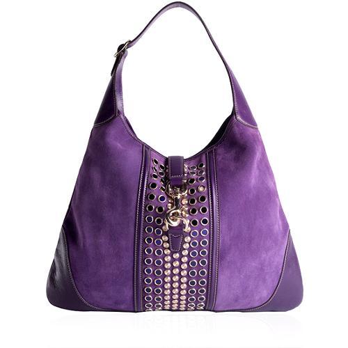 Gucci Suede Jackie O Bouvier Embellished Hobo Handbag