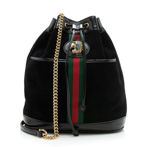 Gucci Suede Patent Rajah Medium Bucket Bag