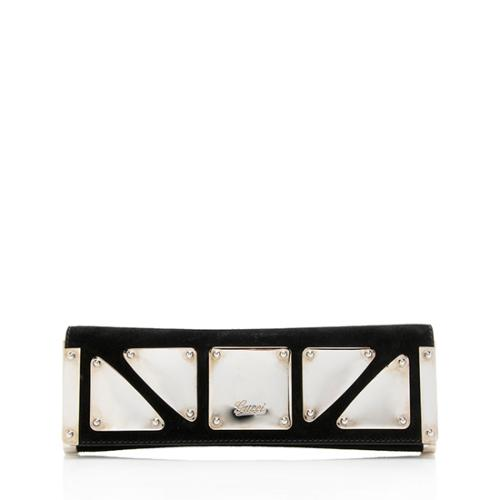 Gucci Suede Romy Mirror Clutch