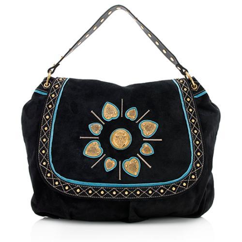 Gucci Suede Studded Irina Large Shoulder Bag