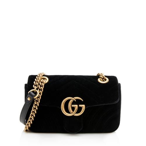 6d9847e1f26 Gucci Velvet GG Marmont Mini Shoulder Bag