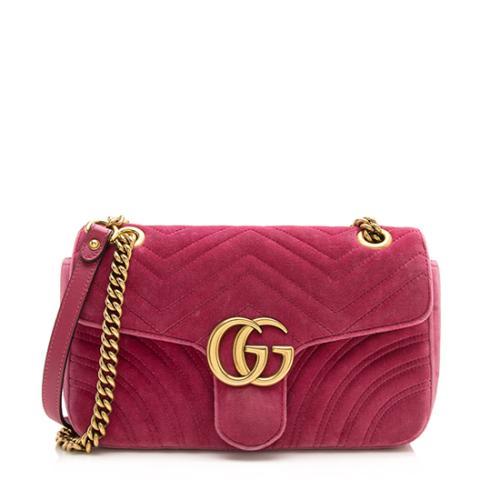 Gucci Velvet GG Marmont Shoulder Bag