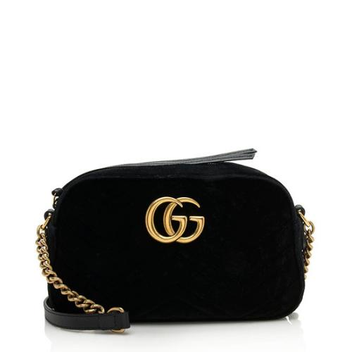 Gucci Velvet GG Marmont Small Shoulder Bag