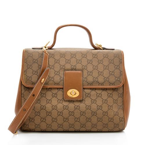 Gucci Vintage GG Canvas Top Handle Shoulder Bag