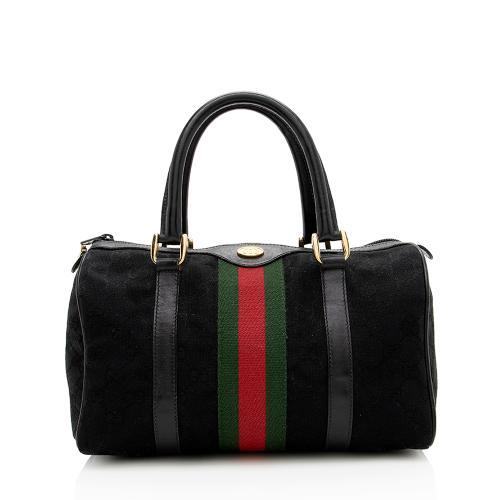 Gucci Vintage GG Canvas Web Small Boston Bag
