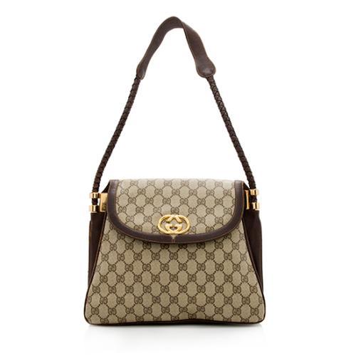 Gucci Vintage GG Plus Braided Leather Shoulder Bag - FINAL SALE