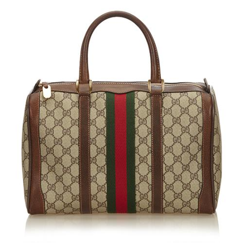Gucci Vintage GG Plus Web Boston Satchel