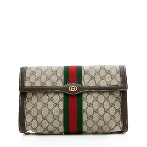 Gucci Vintage GG Plus Web Flap Clutch