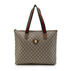 Gucci Vintage GG Supreme Plus Web Tote