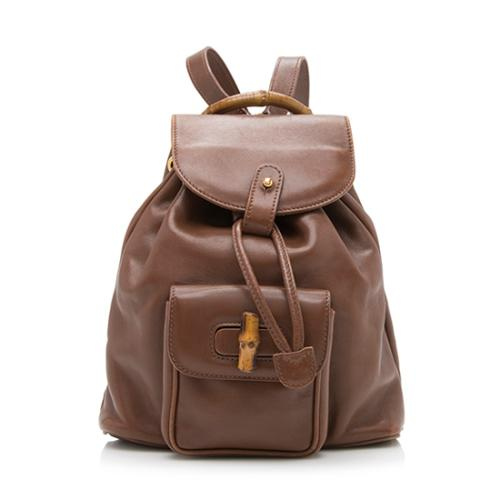 Gucci Vintage Leather Bamboo Backpack
