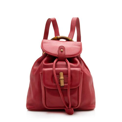 Gucci Vintage Leather Bamboo Small Backpack