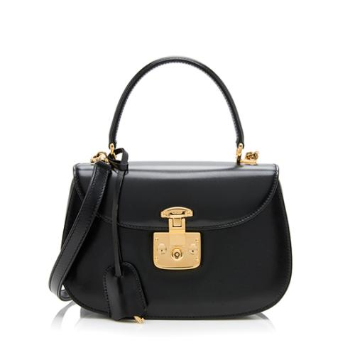 Gucci Vintage Leather Pushlock Top Handle Satchel