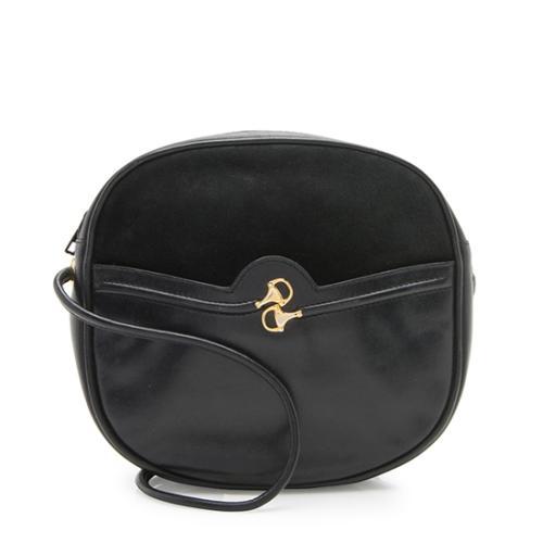 Gucci Vintage Leather Suede Horsebit Crossbody Bag