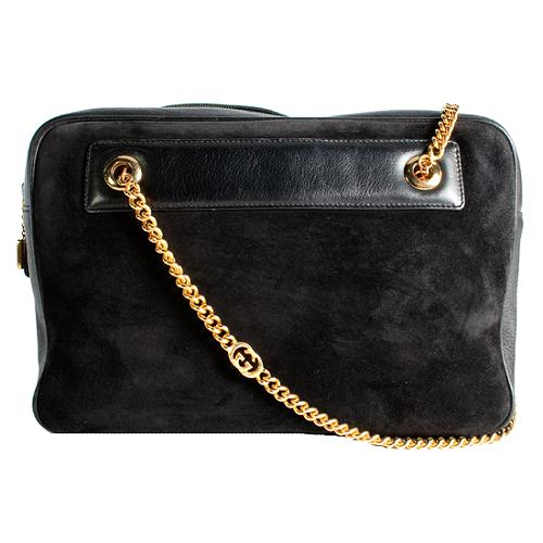 Gucci Vintage Suede Chain Shoulder Handbag