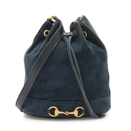 Gucci Vintage Suede Horsebit Drawstring Bucket Shoulder Bag