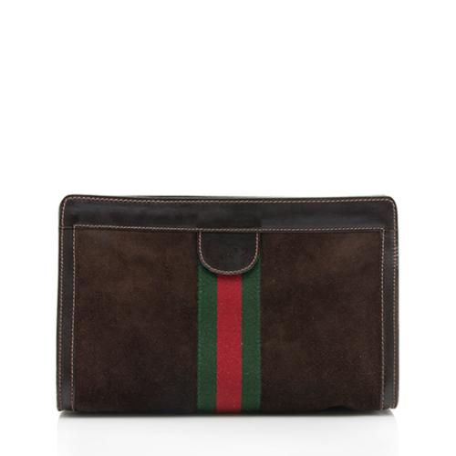 Gucci Vintage Suede Web Clutch - FINAL SALE