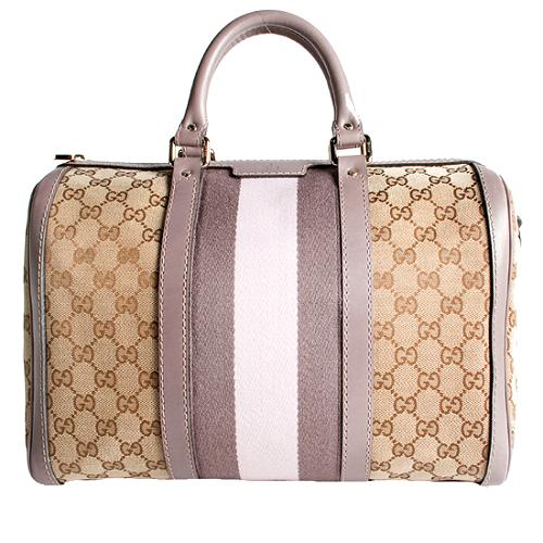 Gucci Vintage Web Medium Boston Satchel Handbag