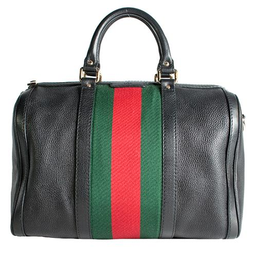 Gucci Vintage Web Medium Boston Satchel Handbag