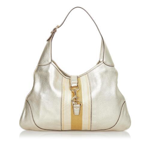 Gucci Web Jackie Leather Shoulder Bag