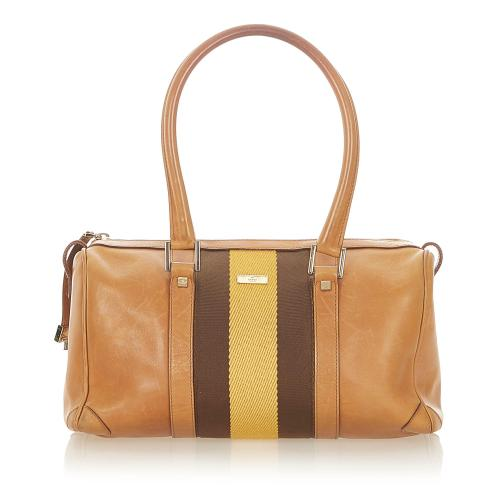 Gucci Web Leather Boston Bag