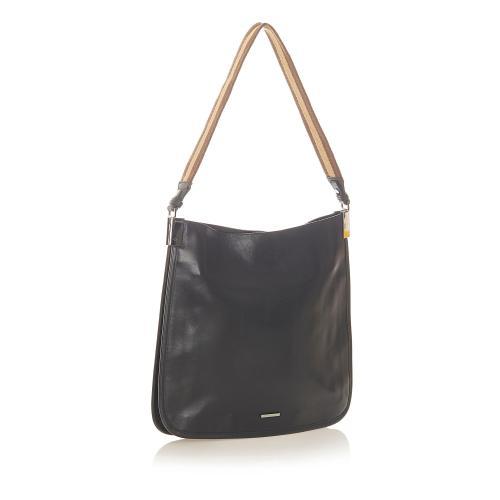 Gucci Web Leather Shoulder Bag