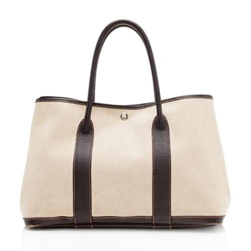 Hermes Canvas Leather Garden Party 36 Tote
