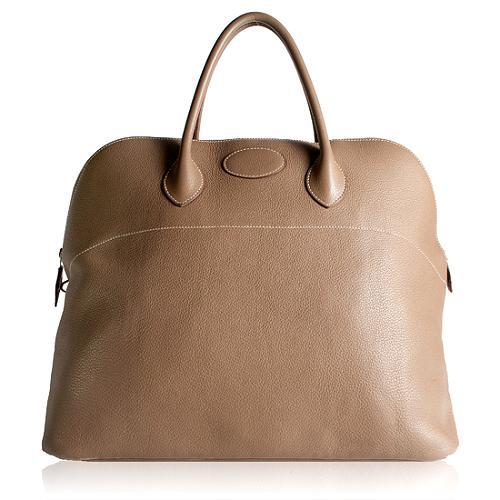 Hermes Clemence Etoupe 47cm Bolide Travel Satchel Handbag