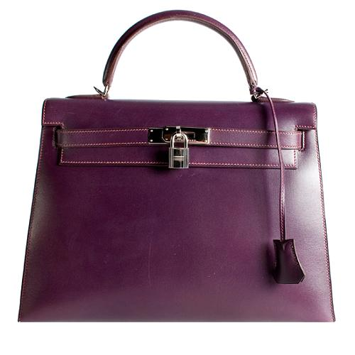 Hermes Quetsche Box Calf Sellier Kelly 32 Satchel Handbag