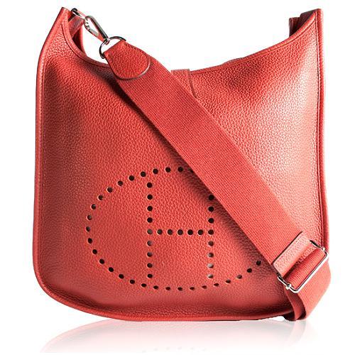 Hermes Rouge Garance Clemence Evelyn III Shoulder Handbag
