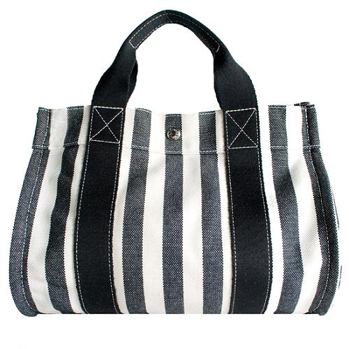 Hermes Striped Canvas Tote