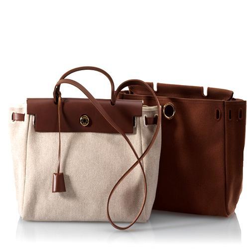Hermes Toile/Vache Herbag Convertible Satchel Handbag