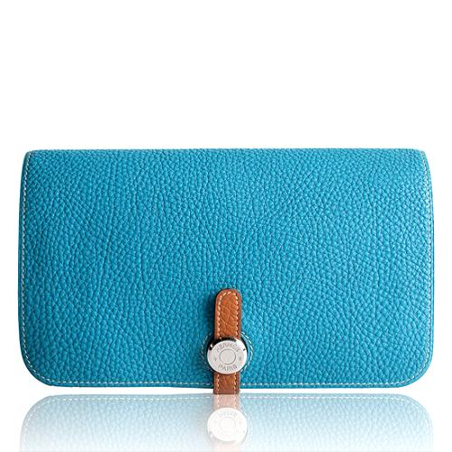 Hermes Turquoise Togo Leather Dogon Wallet