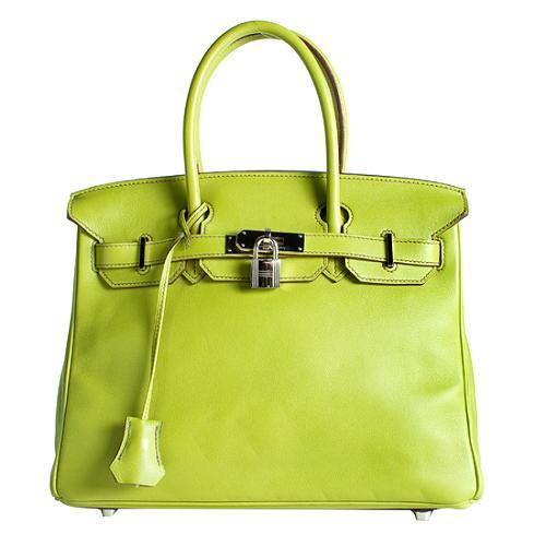 Hermes Vert Anis Swift Birkin 30 Satchel Handbag