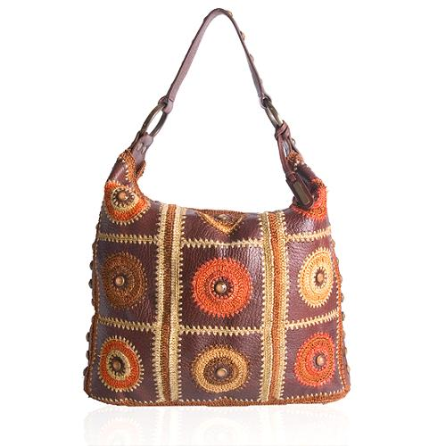 Isabella Fiore Embellished Patchwork Hobo Handbag