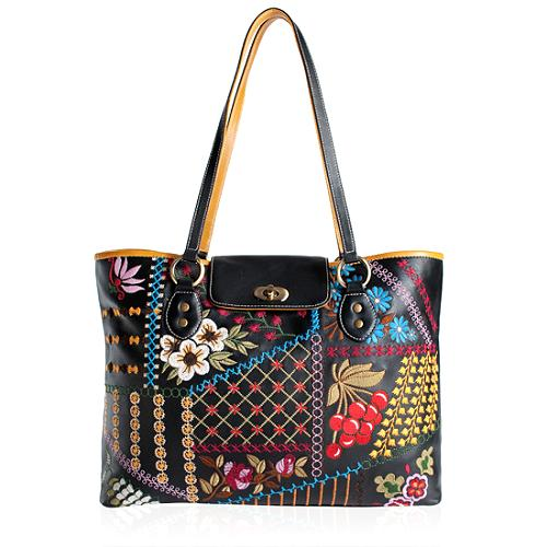 Isabella Fiore Embroidered Patchwork Tote