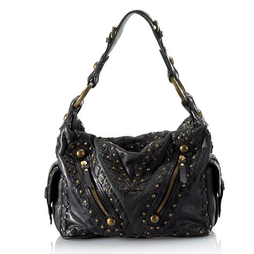 Isabella Fiore Leather Studded Shoulder Handbag