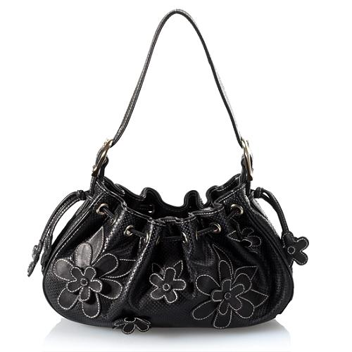 Isabella Fiore Perforated Leather Flower Accent Shoulder Handbag
