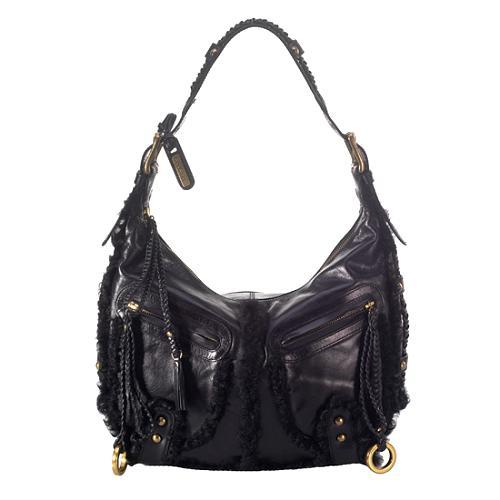 Isabella Fiore Shearling Shoulder Handbag