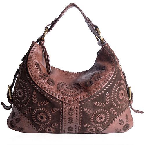 Isabella Fiore Suede Hobo Handbag