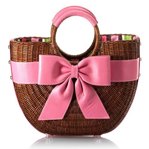 Isabella Fiore Wicker Bow Satchel Handbag