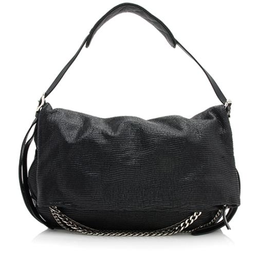 Jimmy Choo Embossed Lizard Biker Saddle Chain Large Shoulder Bag