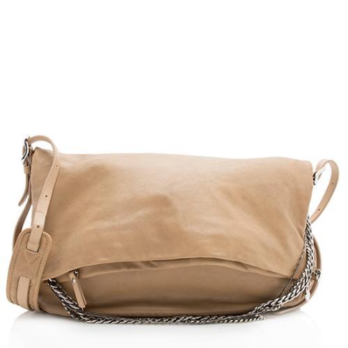 Jimmy Choo Leather Biker Saddle Chain Large Shoulder Bag