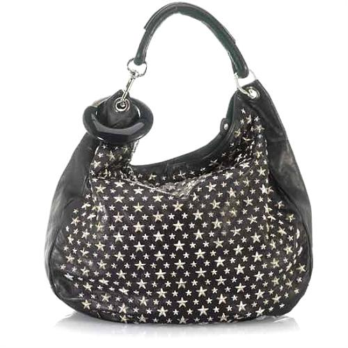 Jimmy Choo Leather Sky Studded Hobo Handbag